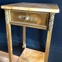 Tall Italian Marble & Brass Table
