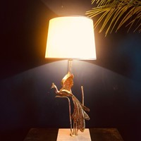 Tall Peacock Table Lamp by Lanciotto Galleotti