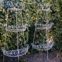 Pair of tall French wirework Florists Plant Stands