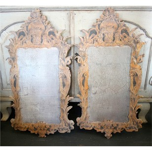 Pair of  Painted Tromp L'oeil  Mirrors