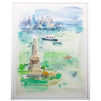 1960s Watercolour Vista of New York City by Roger