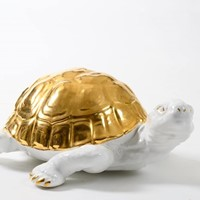 ceramic tortoise with gold detailing by Ronzan