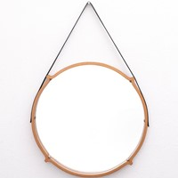 Large Circular Teak Italian Mirror With Leather St