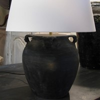 Lamp with linen shade, pair available