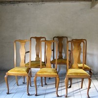 6 oak Vintage 1930s dining chairs