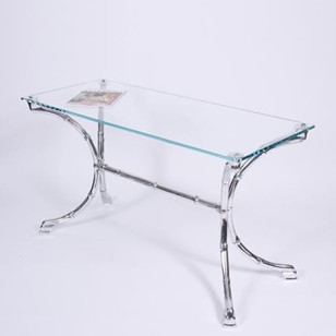 Aluminium Faux Bamboo & Glass Console Table