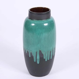 German 1960s Green Drip Effect Ceramic Vase