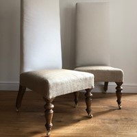 Wonderful pair of English high back slipper chairs