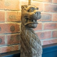 18thC Large Carved Oak Lion Table Lamp