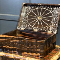 19thC Anglo Indian Coromandel Inlaid Sewing Box