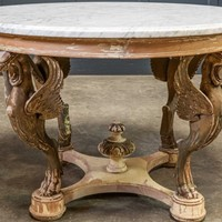 Late 19thc Italian Carved & Gilded Marble Table