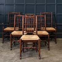 19thC Set of 6 Oak & Rush Dining Chairs