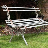 French Cast Iron Strapwork Garden Bench. C 1940