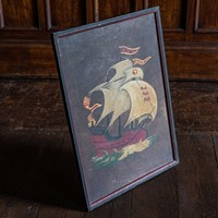 Naive Oil on Board English Galleon Ship Painting