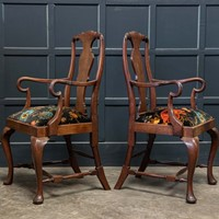 Pair 19thC Large Mahogany Carver Elbow Chairs