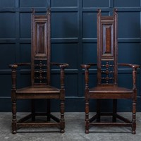 Pair Arts & Crafts Oak Shakespeare Chairs
