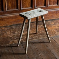 English Elm Primitive Country Stool