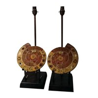 Pair of colourful amonite lamps