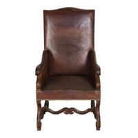 Louis xiv revival leather armchair