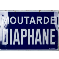 Large old french enamel mustard advertising sign