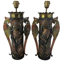 Pair of 'trench art' lamps