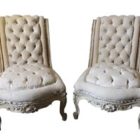 Pair of SCROLL BACK tufted slipper chairs