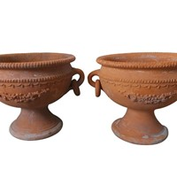 Pair of decorative terracotta planters
