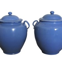 Two blue confit pots with lids