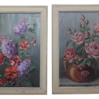Pair of signed still-life paintings by marcel abou