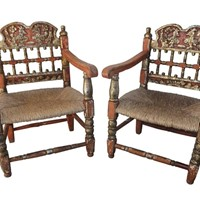 Pair of polychrome spanish armchairs