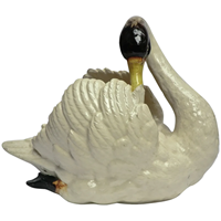 19thC glazed China Swan signed by Jerome Massier