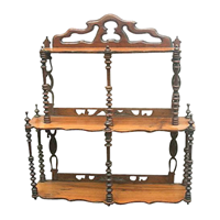 Art Nouveau Shelf Rack carved in Walnut