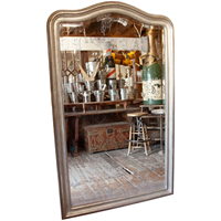 Large Silver Gilded & Bevelled Wall Mirror .