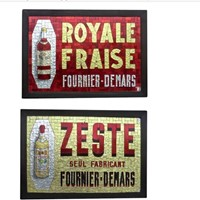Pair of Mosaic Glass Advertising Signs from France