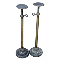 Pair of Brass Hat Stands from a Victorian Hatshop