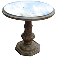 Mirror Top Carved Wood Coffee Table from France
