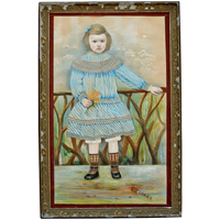 Naive Pastel Portrait from France of Young Girl