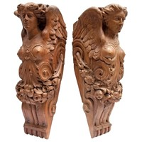 Pair of Carved Wooden Angels from a London Theatre