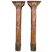 Pair of Painted 'Egyptian' Pillars from Fairground