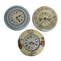 Vintage Toleware wall clocks from France