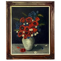 Framed Signed Oil Painting of Poppies