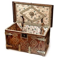 18th C Spanish Brass Bound Leather Trunk