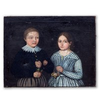 Early 19thC. Portrait in Oil of Brother and Sister