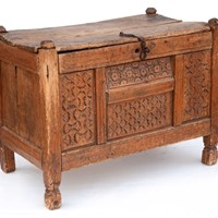 Carved Tribal Dowry Chest from Rajasthan