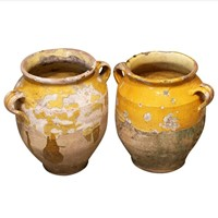 Pr of Giant Earth'ware 'Confit' Pots from Provence