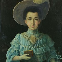 Signed Oil Portrait of Young French Woman c.1905