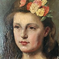 Remounted Oil Portrait of a Young French Girl