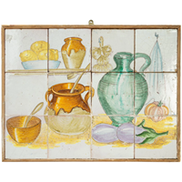 Vintage Tiled Kitchen Scene from Provence