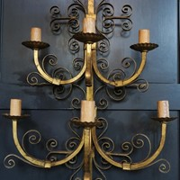 Gilt Wall Sconce, circa 1950, Spain