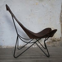 Leather sling chair, circa 1970, spain